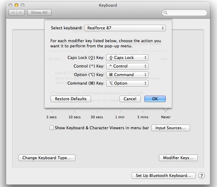 Howto remap Alt key to Meta key and Windows key to Option